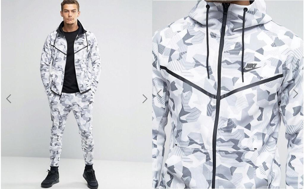Bluza Nike Sportswear Tech Fleece Camo Windrunner Szary Czarny