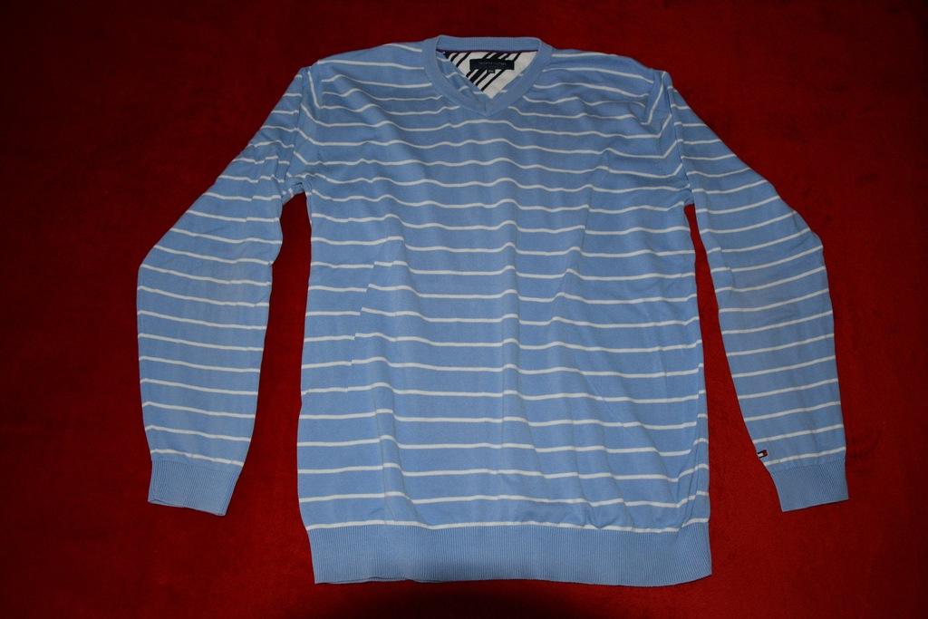 TOMMY HILFIGER sweter w paski XXL błękitny od 1zł