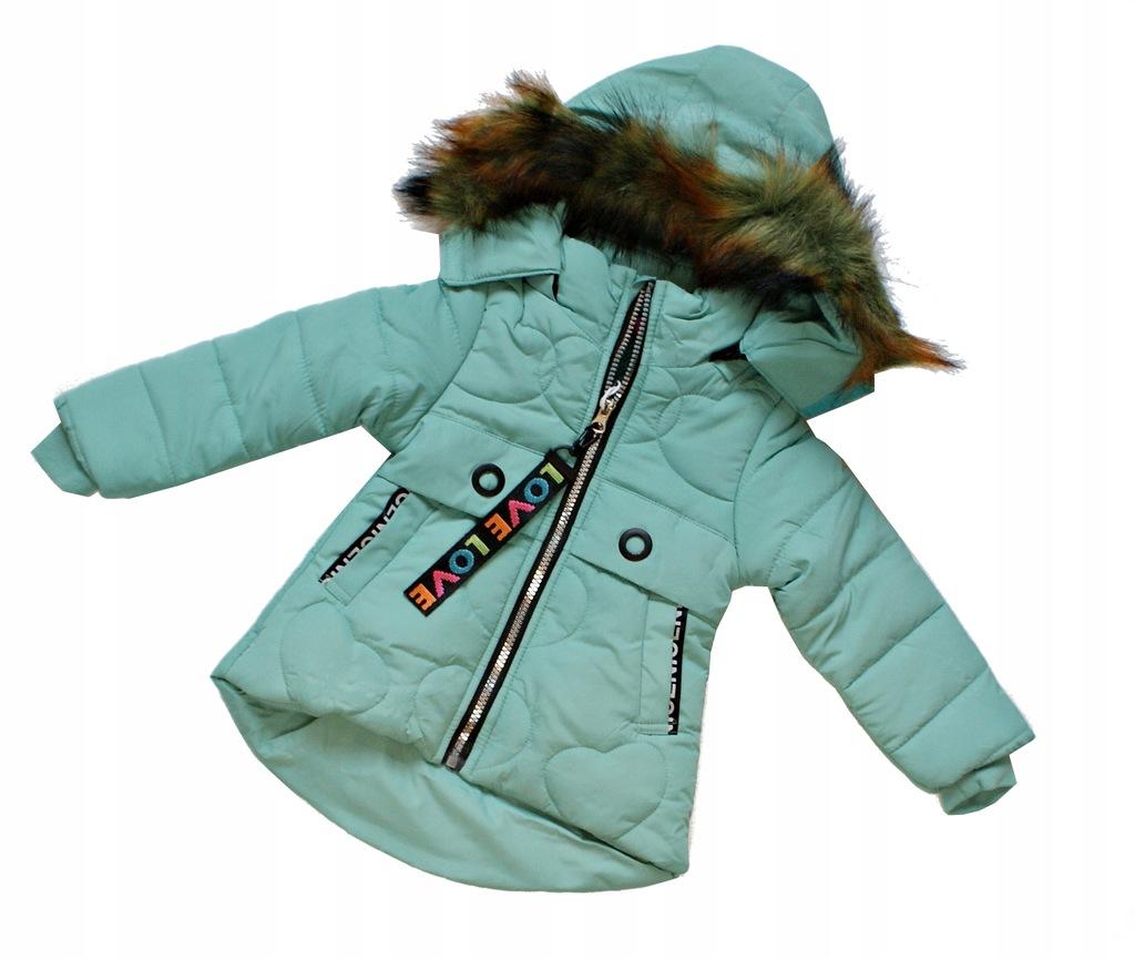 kurtka dziecięca miętowa zimowa