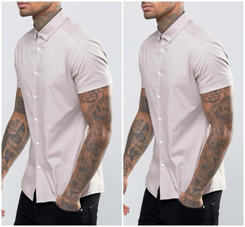 h45 koszula slim skinny krótki rękaw S M beżowa