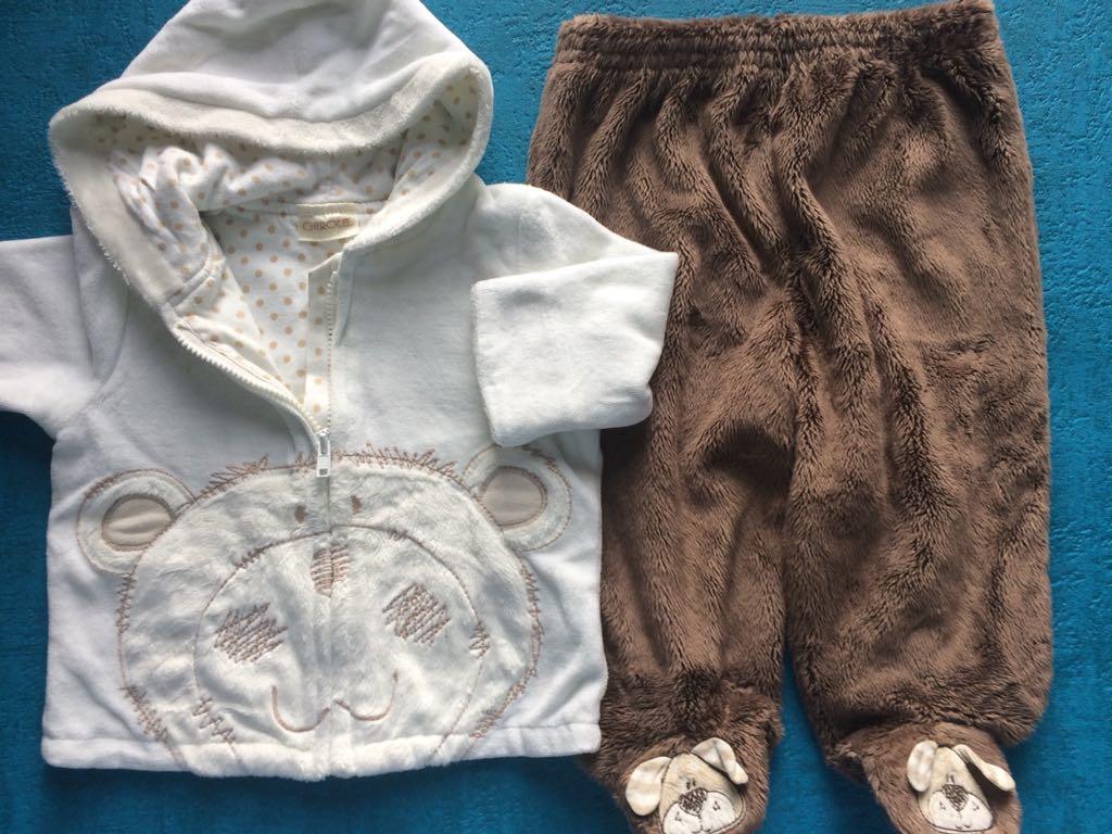 Niemowlęcy komplet na zimę dres bluza spodnie 6-12