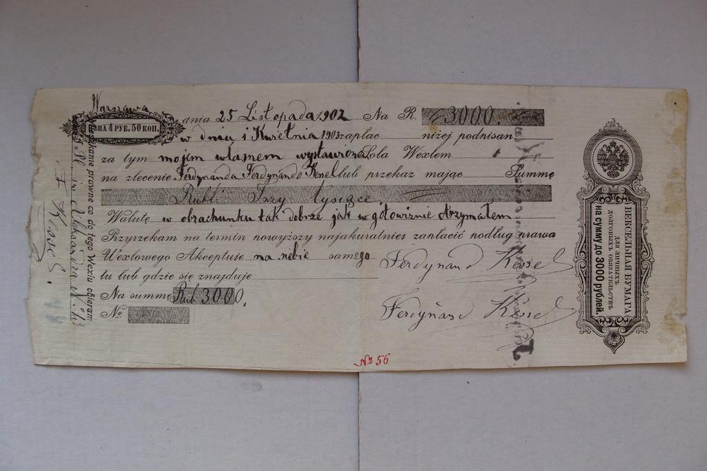 ZABÓR ROSYJSKI przedwojenny WEKSEL 3000 RUBLI 1900