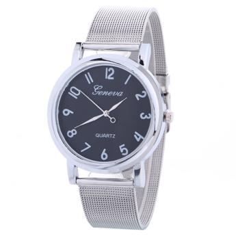 Zegarek tradycyjny Geneva srebrny czarny