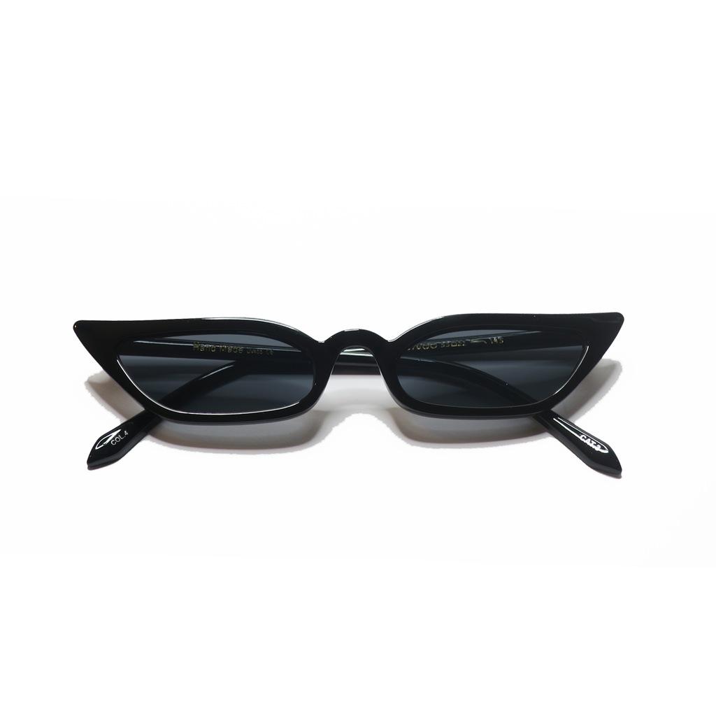 Okulary retro wąskie poppy lissi czarne kocie hit Galeria