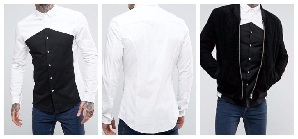 koszula grubsza bawełna biała czarna fit slim XS