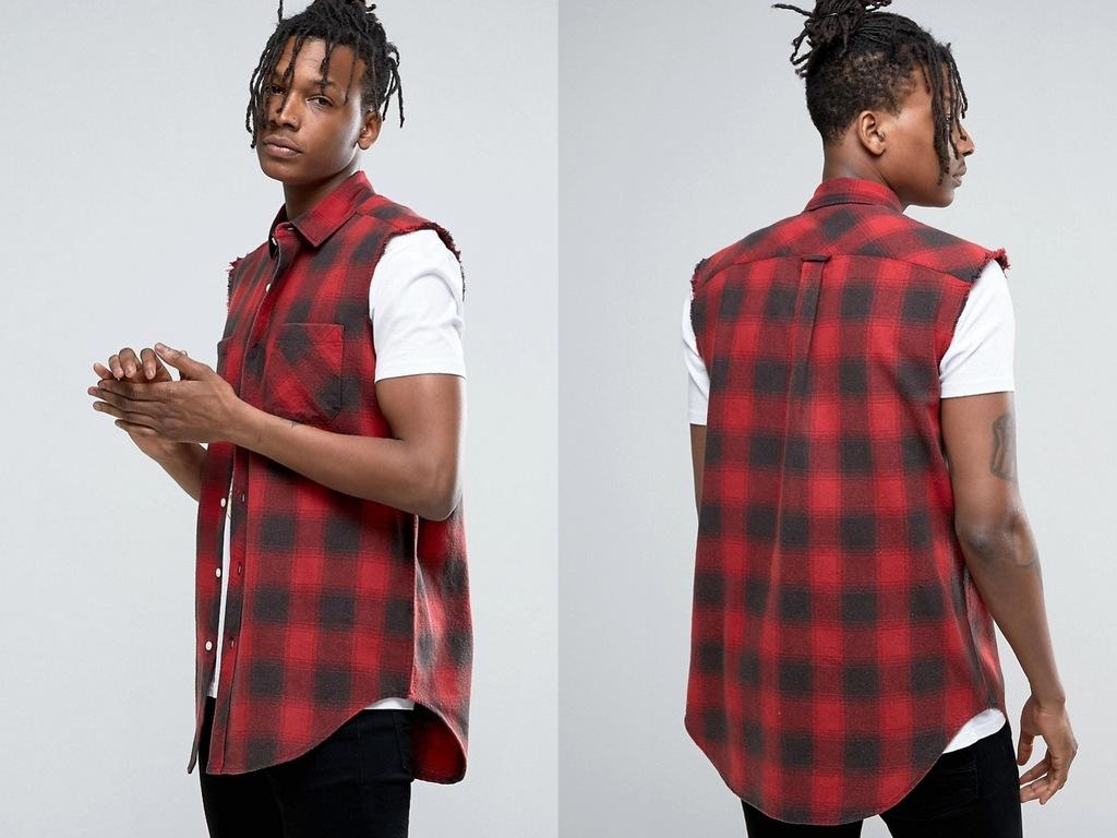 Męska koszula w kratę bez rękawów XXS 7199188846  Zpn6j