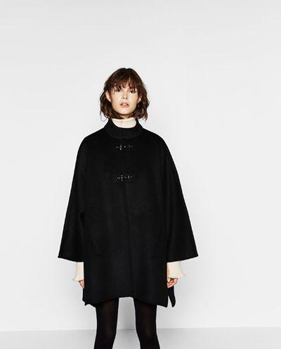 Zara płaszcz peleryna wełna jak nowy