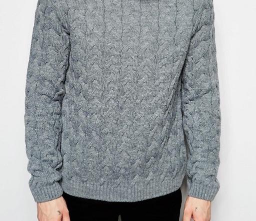 f84 sweter męski ciepły pleciony szary S markowy