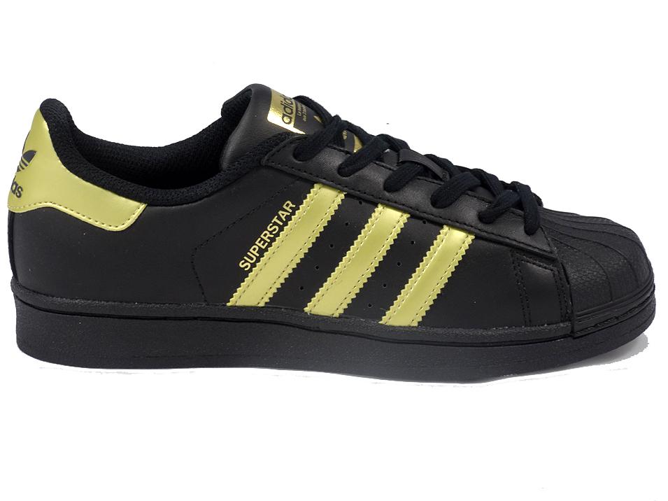 buty adidas damskie superstar zloto-czarne damskie