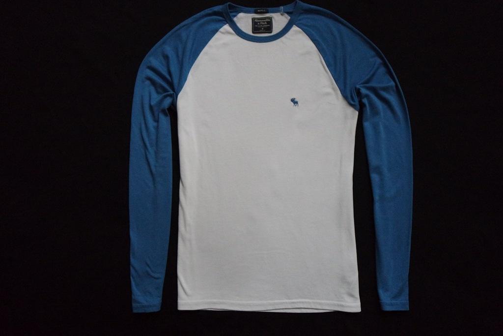 ABERCROMBIE FITCH koszulka biała niebieska logo__M