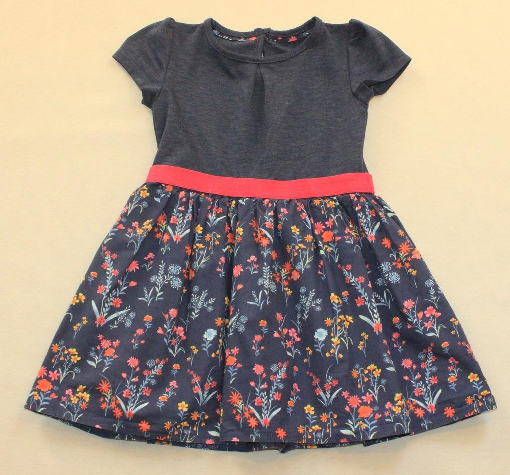 Sukienka DUNNES łączona kolorowe kwiaty r. 92