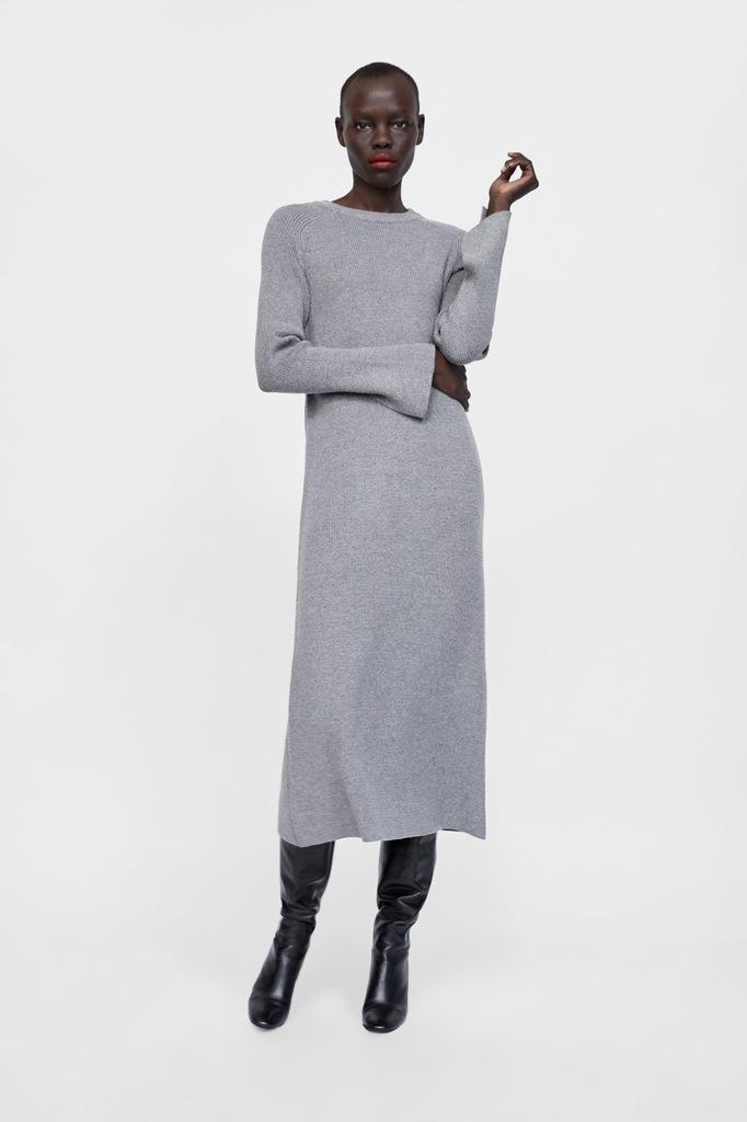 Długa Sukienka z Dzianiny Rozcięcia ZARA M