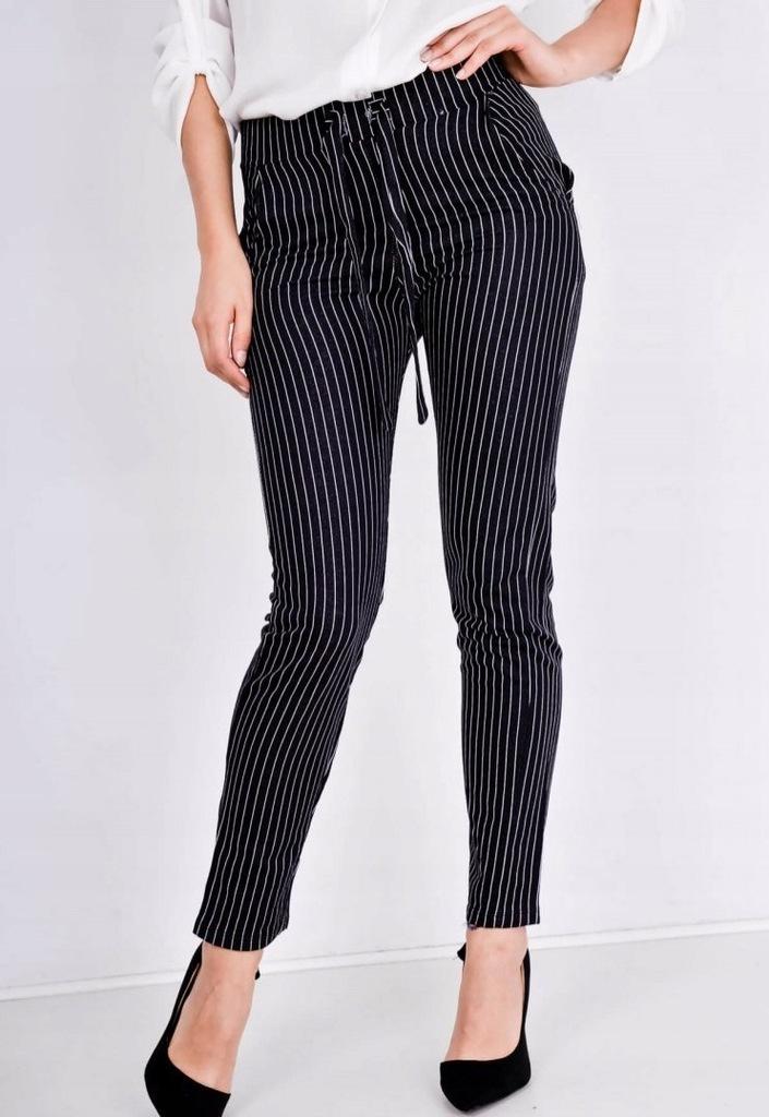 Spodnie w białe paski wiązanie kieszenie Czarny S