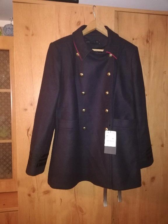 Zara płaszcz militarny wojskowy czerwone dodatki42
