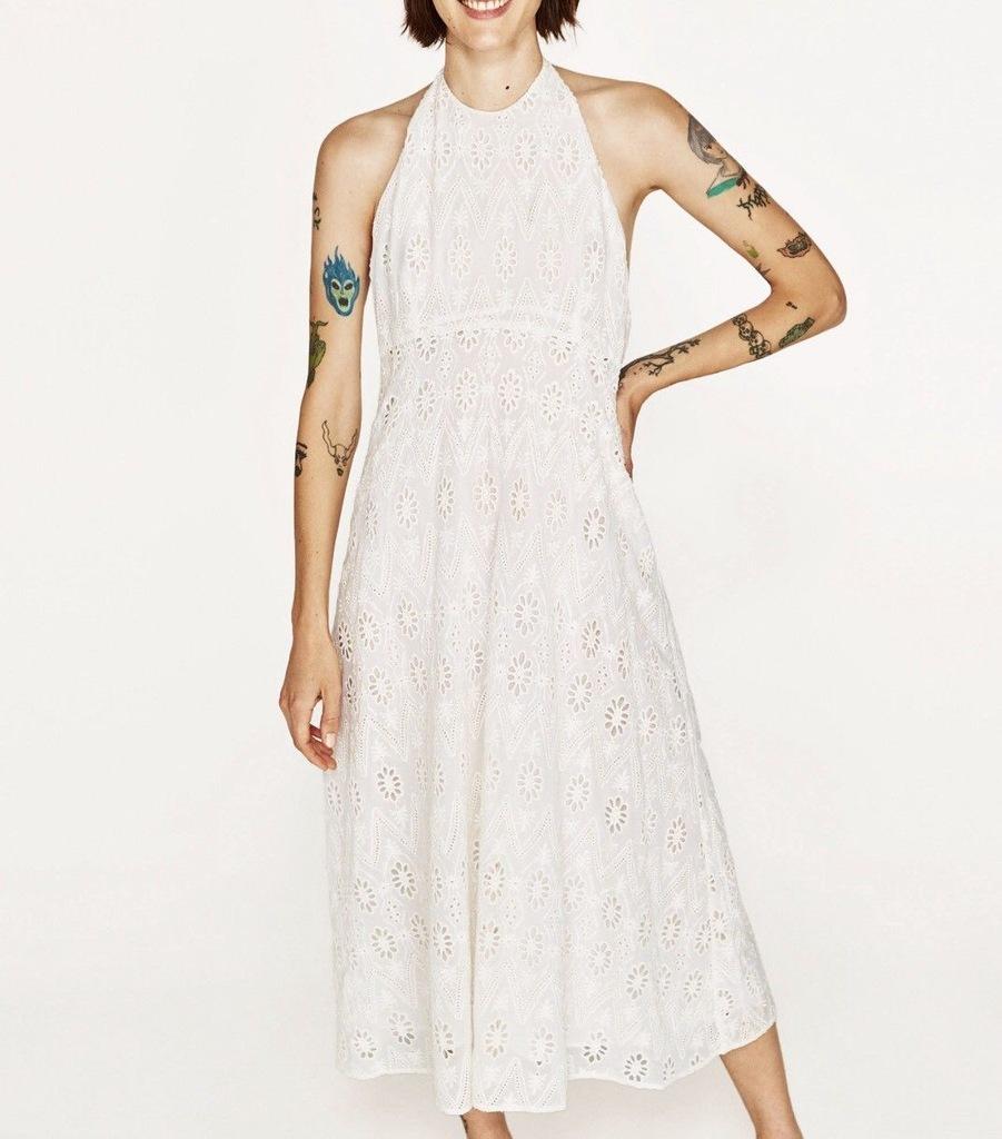 ZARA luksusowa sukienka hafty wiązana * S * (539)
