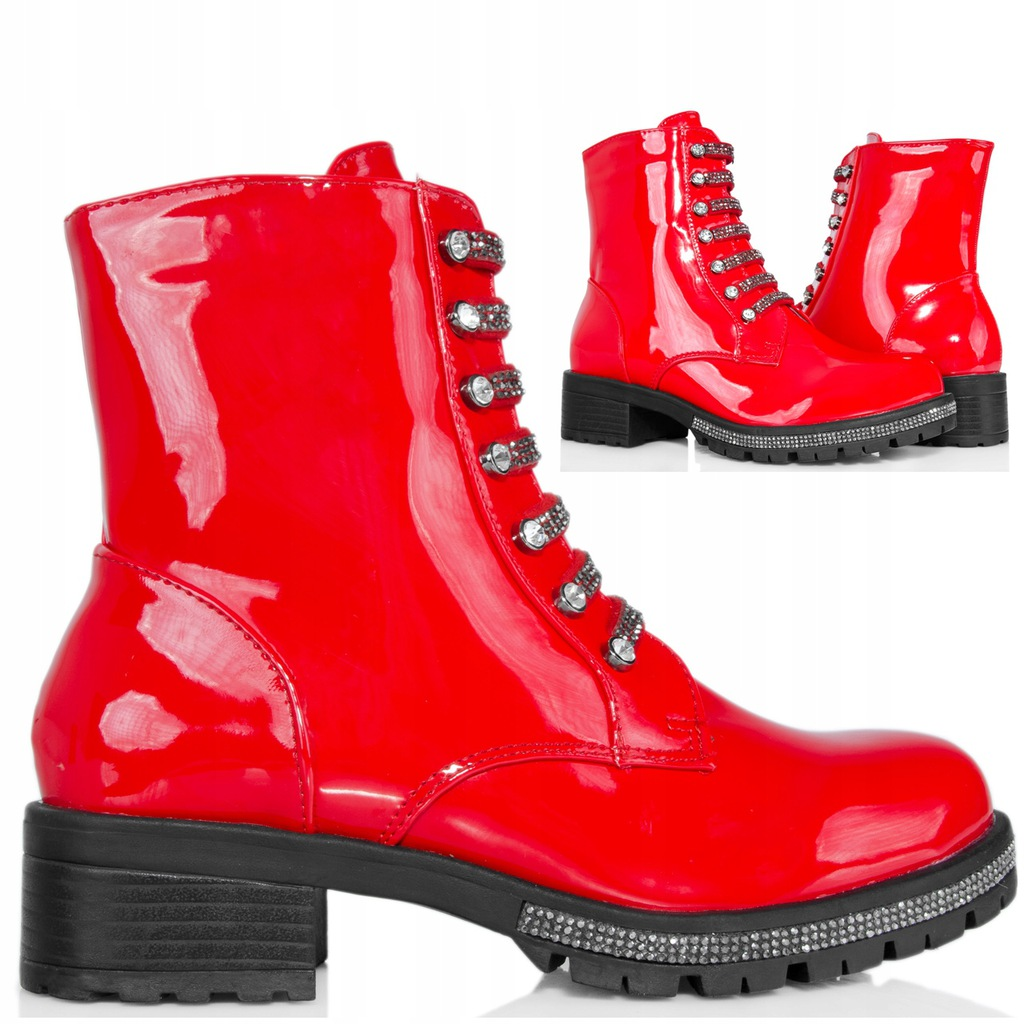 botki damskie czerwone lakierowane