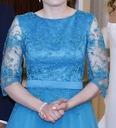 Długa, tiulowa suknia w kolorze turkusowym