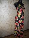 YUMI - czarna sukienka maxi w kwiaty - M Wzór dominujący kwiaty