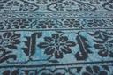 DYWAN VINTAGE 80x150 KWIATY turkus szary #B832 Kolor odcienie niebieskiego odcienie szarości czarny