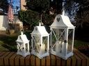 LATARNIA DREWNIANA OGRODOWA LAMPIONY KPL 3w1 L47 Kolor biały