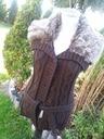 brązowy rozpinany swetr z futerkiem
