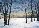 """Akwarela """"Zimowy wieczór"""" 44x32"""