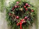 PACHNĄCY WIANEK CZERWONA WSTĄŻKA stroik świąteczny