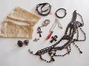 Zestaw biżuterii gotyckiej rękawiczki zawieszki