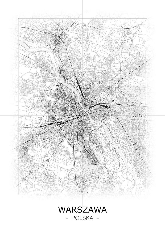 Warszawa Warsaw Czarno Biała Mapa Plakat 50x70 Cm