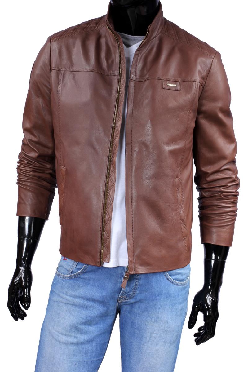 b1f18849fe713 Model PIK219 to lekka, wyjątkowa skórzana kurtka w brązowym kolorze.  Ozdobne pikowania w okolicach ramion oraz na tyle kurtki nadają jej  wyjątkowego, ...