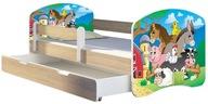 Łóżko dziecięce 140x70 szuflada materac Dąb Sonoma