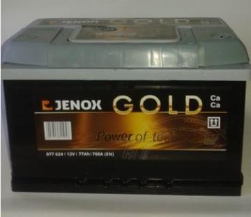 аккумулятор 77 ah jenox gold72,  75,  74 grojec правый+ - фото