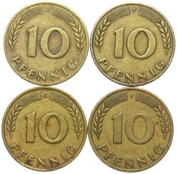 + КОМПЛЕКТ - Германия-ФРГ - 4 x 10 Pfennig 1949 DFGJ доставка товаров из Польши и Allegro на русском