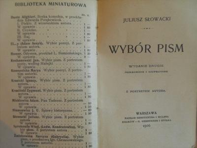 Słowacki Juliusz Wybór Pism Miniatura 1906 R