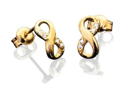 Złote kolczyki nieskończoność, infinity, próba 333