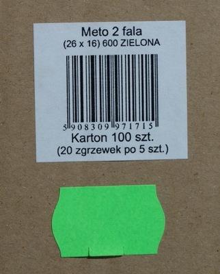 Metki etykiety dwurzędowe 26x16 fala ZIELONE