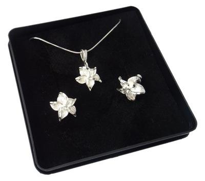 Srebrny komplet kwiatki+łańcuszek-30% MEGA HIT