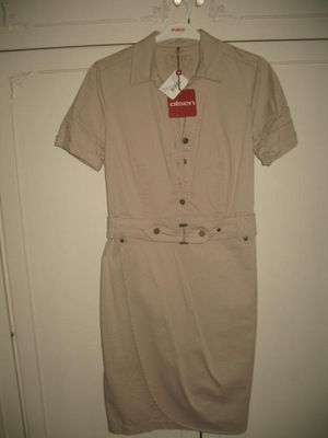 OLSEN 36  38 sukienka  beżowa bawełna letnia