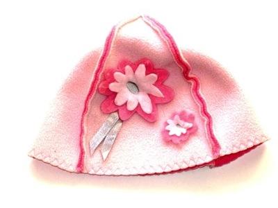 BARBIE różowa czapka czapeczka kwiatki ___ 98/104
