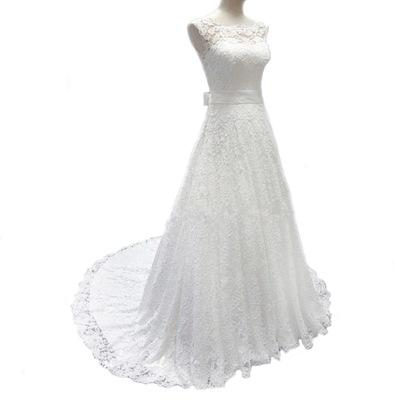 95799ea191 SUKNIA ŚLUBNA sukienka LINIA-A KORONKA 34 XS naJUŻ - 6462904978 ...
