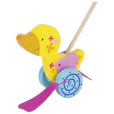 Záhradná hračka - KACZUSZKA na tlačenie WOODEN PCHACZ na tyč GOKA