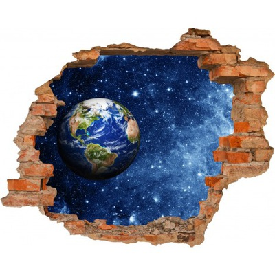Настенные фрески 3D Космос ЗЕМЛЯ и НЕБО ДЫРА В СТЕНЕ