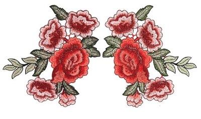 KOMPLET Naszywka TERMO róża róże kwiaty haft
