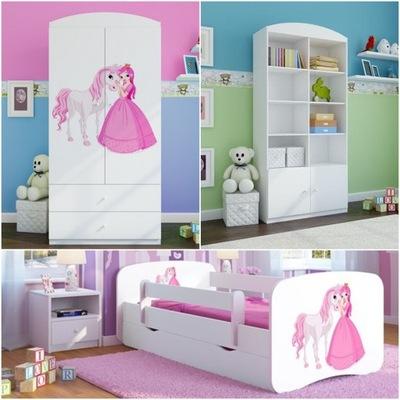 Sada 3 el nábytok, skrine, poličky na knihy posteľ, 180x80cm, biela