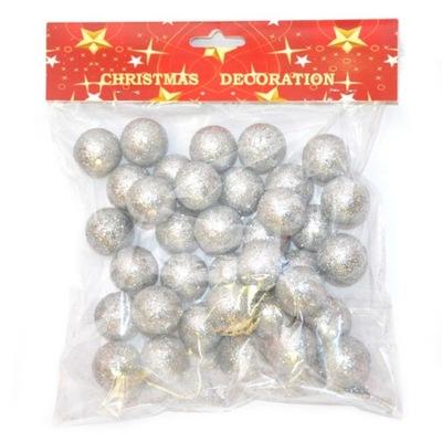 Шарики с блестками серебряные 30 мм ок 37 штук