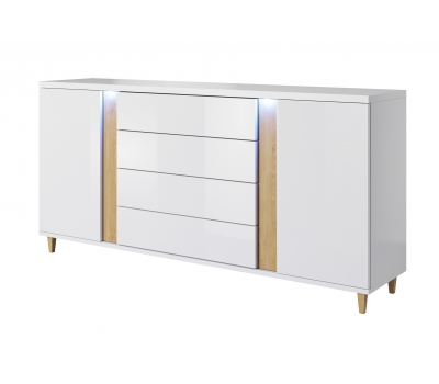 Komoda 180 cm biała salon meble połysk mat LEDY