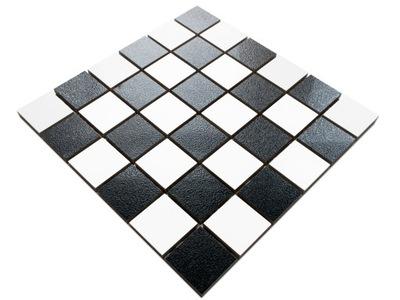 Мозаика GRESOWA шахматная доска черная белая ABISSO