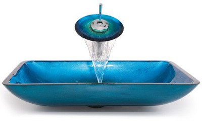 Umývadlo BLUE GLASS WASHBASIN + BATÉRIA HC6021