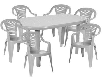 МОЩНЫЙ комплект 6 +1 БОЛЬШОЙ стол стулья пластик Серый