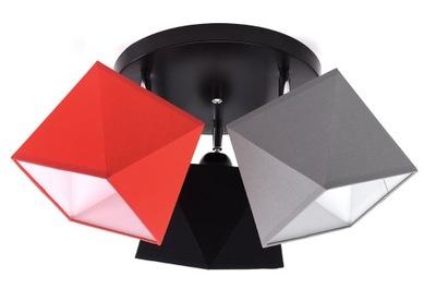 Lampa sufitowa plafon żyrandol 3 abażury kolor